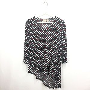 Chicos 2 L Large Shirt Black Red Asymmetrical 3/4